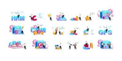 CRM flat concept vector illustrations set. Processes automation metaphors. Business optimization. Data analyzing. Client service improvement. Customer relationship management 2D cartoon characters