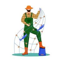 Fisherman flat vector illustration. Sport, active leisure. Fishing fleet. Maritime occupation. Fisher with seine isolated cartoon character on white background