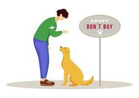 Ilustración de vector plano de adopción animal. Joven voluntario en refugio para perros personajes de dibujos animados aislados sobre fondo blanco. concepto voluntario de cuidado de mascotas. activista adoptando animal abandonado y sin hogar
