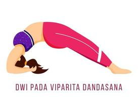 Dwi Pada Viparita Dandasana flat vector illustration. Dropping back to Bench. Caucausian woman performing yoga posture in pink and purple sportswear. Isolated cartoon character on white background