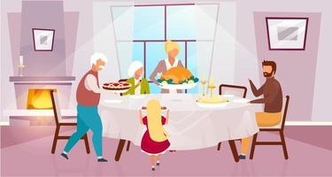 Thanksgiving day flat vector illustration. National holiday in United States. Grateful meal. Celebrating harvest together with grandparents. Family dinner with turkey cartoon characters