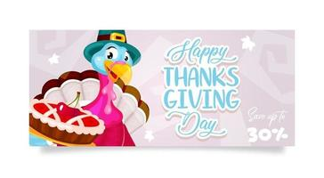 Happy Thanksgiving day flat poster vector template. Autumn holiday discount. Piligrims turkey with cherry pie isolated cartoon character. Banner, brochure, leaflet design layout with place for text