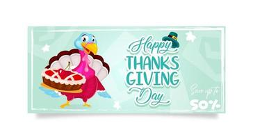 Happy Thanksgiving day banner flat vector template. Autumn holiday sale. Piligrims turkey with cherry pie isolated cartoon character. Banner, brochure, leaflet design layout with place for text