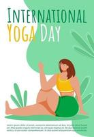 International yoga day brochure template. Active and healthy lifestyle. Bodypositive flyer, booklet, leaflet concept with flat illustrations. Vector page cartoon layout for magazine with text space