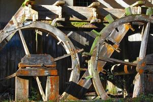 Wooden mill close-up photo