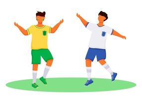 Latino boys in sportswear flat color vector faceless characters. Football fans. Standing teenager. Sportsmen. Brazil carnival isolated cartoon illustration for web graphic design and animation