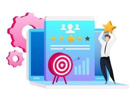 Man holding star flat concept vector illustration. Marketing automation 2D cartoon character for web design. Lead management. Arrow in target. Customer relationship management creative idea