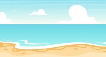 Ilustración de vector plano plano de playa. océano de verano, diseño de fondo de paisaje marino. lugar de vacaciones, costa de la isla. paraíso soleado, laguna turquesa. Fondo de dibujos animados de paisaje marino, fondos de pantalla