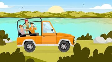 Journey flat vector illustration. People traveling in car through valley. Sunrise on river stream on background. Field landscape. Expedition to Amazonia. Tourist group cartoon characters
