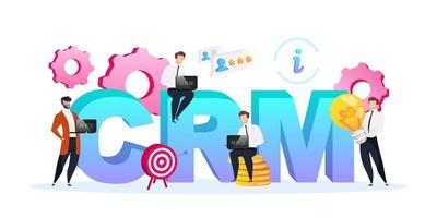 CRM word concepts flat color vector banner. Isolated typography with tiny cartoon characters. Business processes improvement. Customer relationship management creative illustration isolated on white