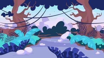 Ilustración de vector de sendero ardiente. camino en el bosque. camino a través de la selva tropical. Escena panorámica con camino entre árboles. ruta para explorar tierras exóticas y salvajes. fondo de dibujos animados de la selva