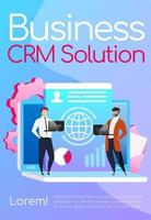 Business CRM solution poster flat vector template. Collaboration and teamwork. Brochure, booklet one page concept design with cartoon characters. Smiling employees with laptops flyer, leaflet
