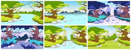Ilustración de vector plano de selva. fauna mediterránea. paisaje de bosque tropical. Escena panorámica con árboles y ríos. tierra salvaje exótica. cascada del Amazonas. fondo de dibujos animados de la selva