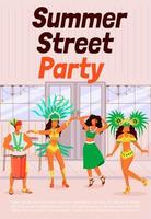 Summer street party poster flat vector template. Dancing women in traditional wear. Man playing conga. Samba. Brochure, booklet one page concept design with cartoon characters. Carnival flyer, leaflet