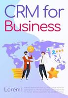 CRM for business poster flat vector template. Smiling men shake hands Brochure, booklet one page concept design with cartoon characters. High rating. Profit grows. Customer service flyer, leaflet