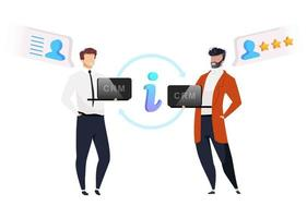 Collaborative CRM flat concept vector illustration. Smiling businessman with laptops system 2D cartoon characters for web design. Customer information exchange. Partnership creative idea