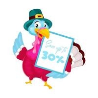 Thanksgiving day flat vector illustration. Turkey with traditional hat. Fall annual holiday celebration. Pilgrims turkey with discount banner isolated cartoon character on white background