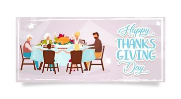 Happy Thanksgiving day flat poster vector template. Autumn holiday celebration. Family dinner with turkey isolated cartoon characters. Banner, brochure, leaflet design layout with place for text