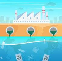 Water and air pollution flat vector illustration. Manufacture industry nature damage. Ecological catastrophe. Plastic garbage in ocean. Sea contamination. Industrial factory toxic pollutions