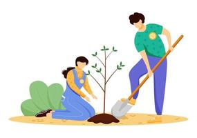 Volunteers planting tree flat vector illustration. Young man and woman, environmental activists isolated cartoon characters on white background. Nature preservation, ecology protection concept