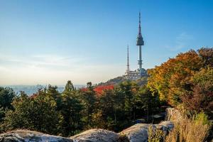 Seoul tower and city wall  at Seoul in South Korea photo