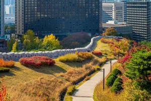 Namsan City Wall and park in Seoul in South Korea photo