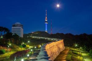 Night view of Namsan in Seoul in South Korea photo