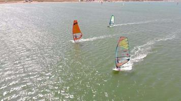 Luftaufnahme von Menschen beim Windsurfen video