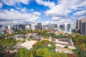 Skyline of Seoul and Deoksugung Palace in South Korea photo