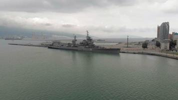 Flight on a warship Aerial shot video