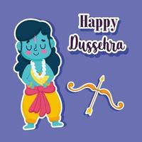 happy dussehra festival of india, cartoon rama with bow and arrow, traditional religious ritual vector