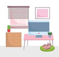 oficina en casa, lugar de trabajo, computadora, en, escritorio, con, gabinete, plantas, gato, en, cojín vector