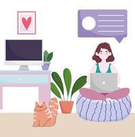 Espacio de trabajo de la oficina en casa, mujer en un cojín con un portátil en la habitación con una computadora y plantas para gatos vector