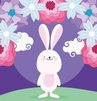 happy mid autumn festival, delicate flowers decoration and rabbit cartoon, blessings and happiness vector