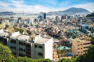 Busan harbor and bridge at Busan in South Korea photo