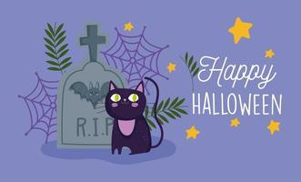 happy halloween, black cat tombstone bat cobweb stars trick or treat party celebration vector