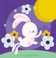 happy mid autumn festival, funny bunny flowers moon nature, blessings and happiness vector