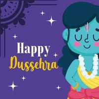 happy dussehra festival of india, cartoon lord rama traditional religious ritual culture vector