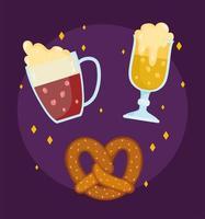 oktoberfest festival, beer beverage and pretzel food, celebration germany traditional vector