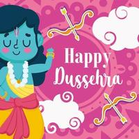 happy dussehra festival of india, celebration traditional religious ritual, lord rama bow and arrows vector
