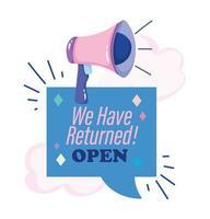 reopening, megaphone shouting speech bubble inscription, clouds cartoon design vector