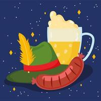oktoberfest festival, sausage beer with foam and hat, celebration germany traditional vector
