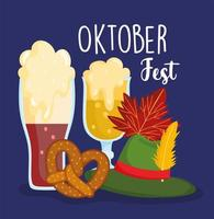 oktoberfest festival, cold and black beers pretzel and green hat, celebration germany traditional vector