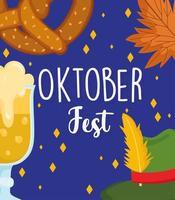 oktoberfest festival, hat beer pretzel leaf background, celebration germany traditional vector