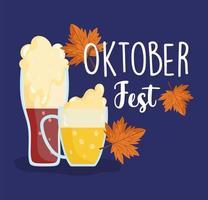 oktoberfest festival, mug beer with foam celebration germany traditional vector