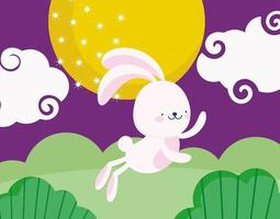 happy mid autumn festival, rabbit jumping cartoon moon clouds nature, blessings and happiness vector