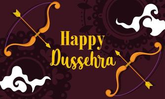 happy dussehra festival of india, phrase bow arrow traditional religious ritual banner vector