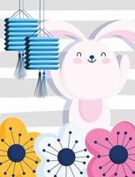 happy mid autumn festival, cute bunny chinese lanterns and flowers, blessings and happiness vector