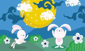 happy mid autumn festival, bunnies moon flowers landscape, blessings and happiness vector