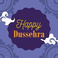 happy dussehra festival of india, traditional religious ritual, mandala purple background vector